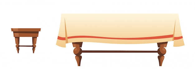 Wooden stool and table with linen cloth Free Vector