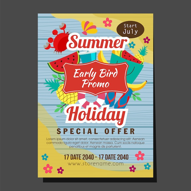 Wooden summer holiday early bird promo flat style tropical