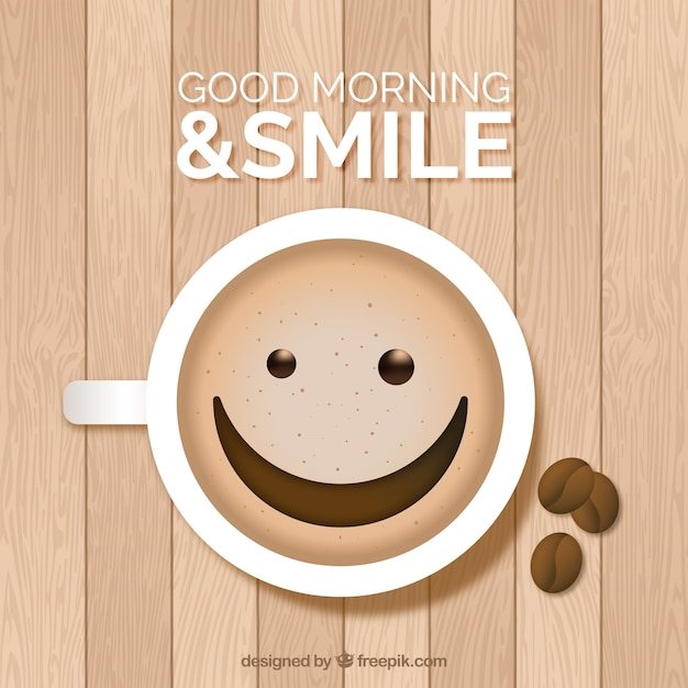 Wooden surface with happy coffee cup | Stock Images Page | Everypixel #happyCoffee