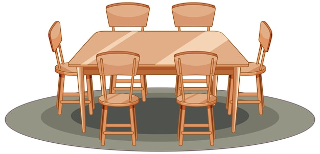 Wooden table and chair cartoon style isolated Free Vector