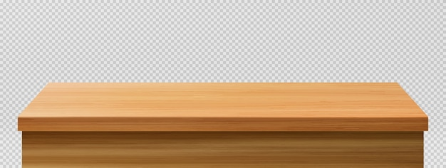 Tavolo in legno in primo piano, vista frontale da tavolo Vettore gratuito