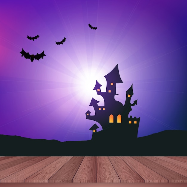 Wooden table looking out to a halloween landscape Free Vector