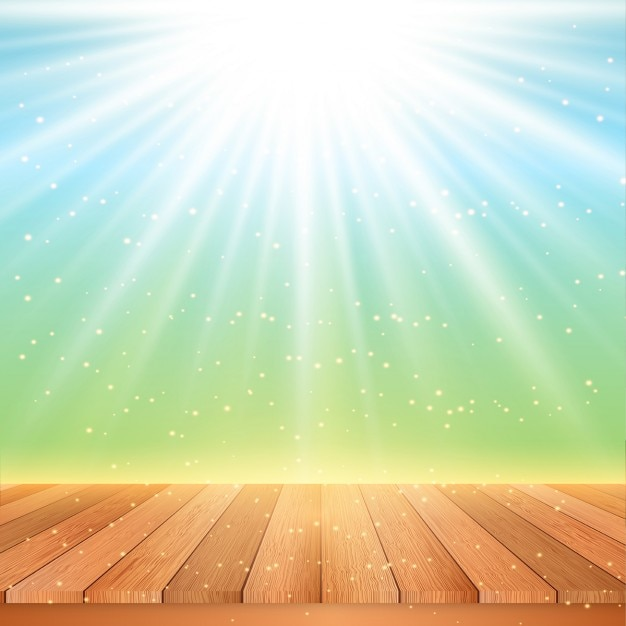 Wooden table looking out to a starburst background Free Vector