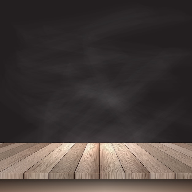 Wooden table on a black background Free Vector