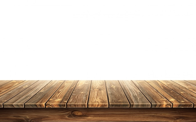 Wooden table top with aged surface Free Vector
