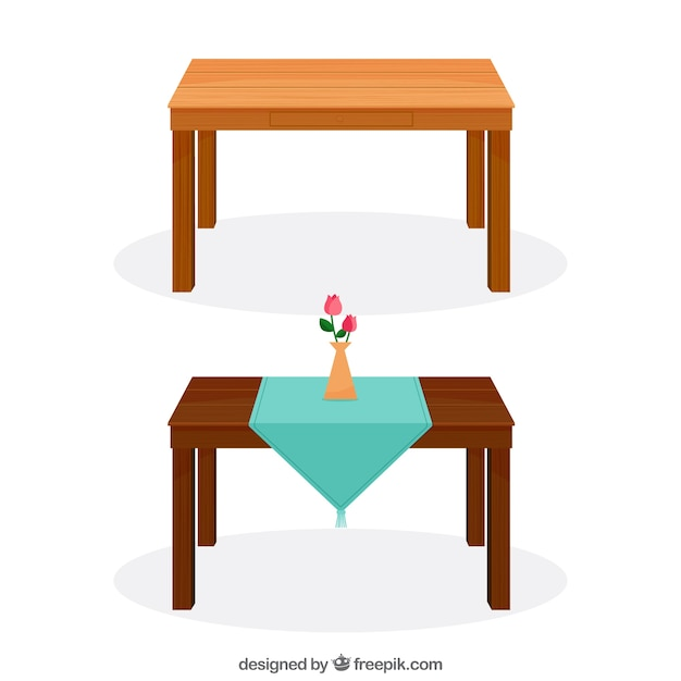 Wooden tables Free Vector