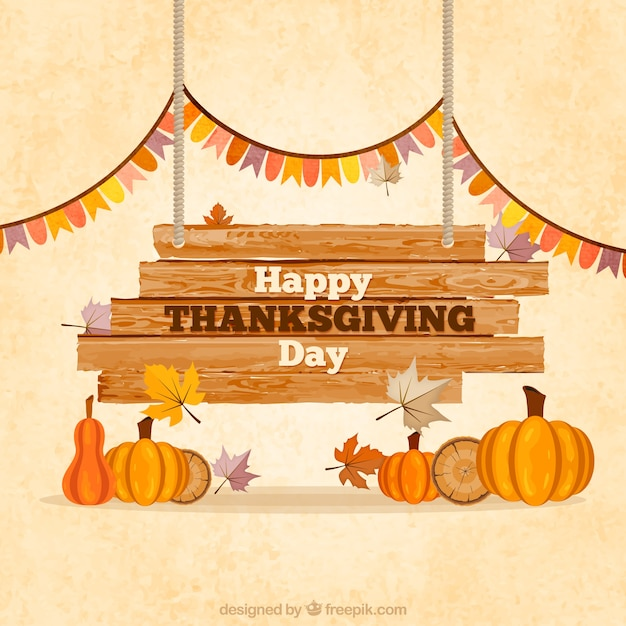 Wooden Thanksgiving Sign Vector Free Download