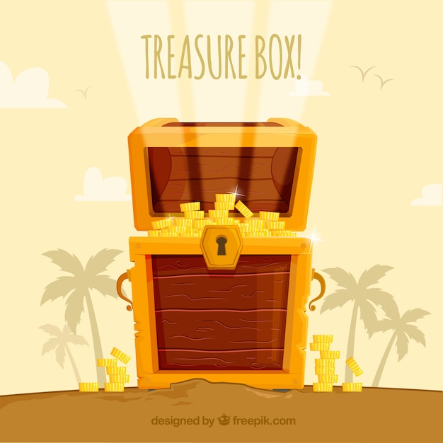 Wooden treasure box with flat design Free Vector