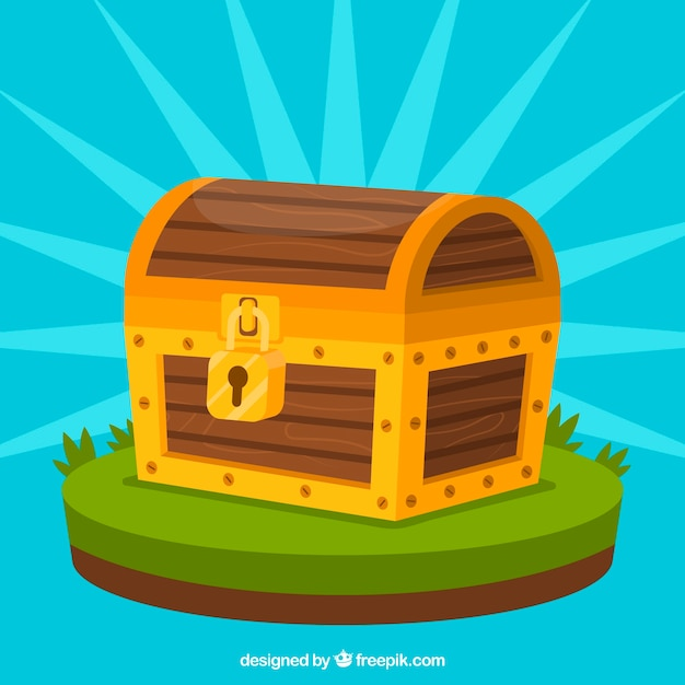 Wooden treasure chest with flat design Free Vector