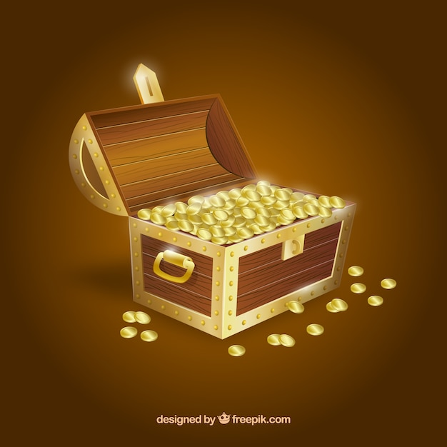 Wooden treasure chest with realistic design Free Vector