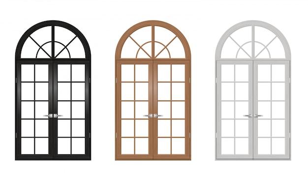Wooden vintage arched doors set Premium Vector