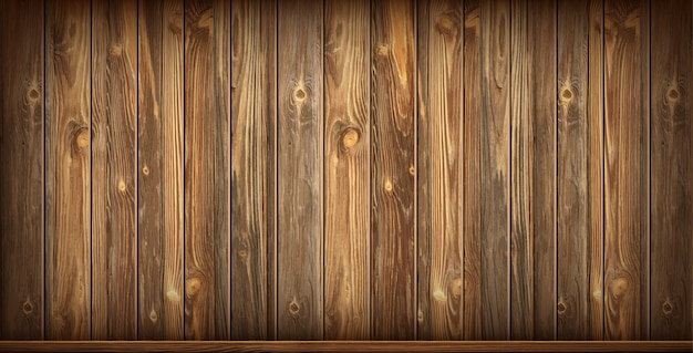Wooden wall and floor with aged surface, realistic Free Vector