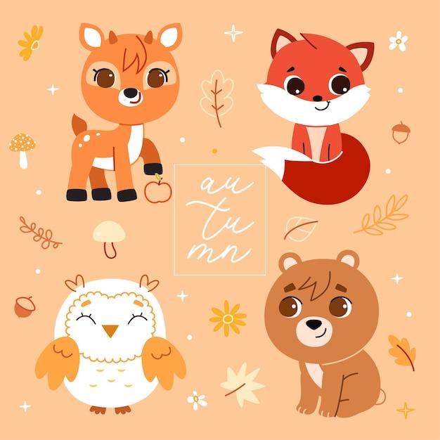 Набор лесных животных и элементов декора. иллюстрация. Premium векторы