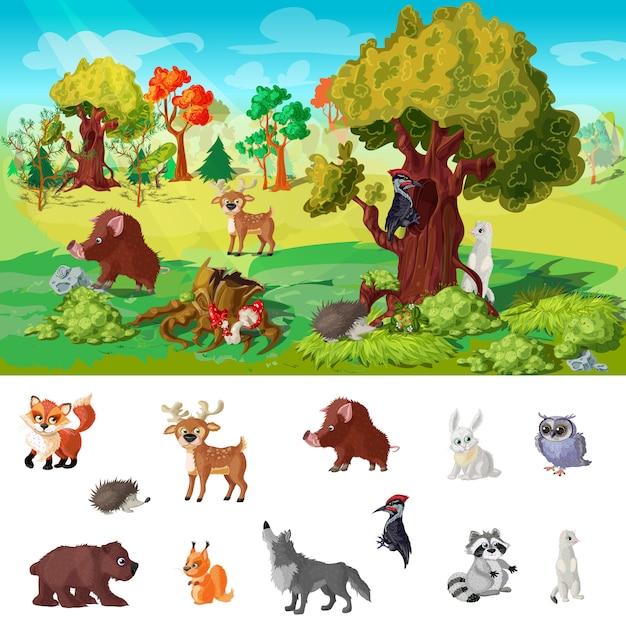 Woodland animals персонаж концепция иллюстрации Бесплатные векторы