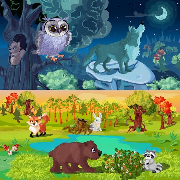 Illustrazione di animali del bosco Vettore gratuito