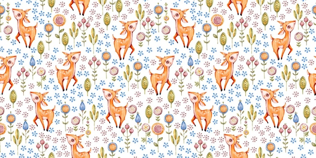 숲 보육 수채화 원활한 패턴 프리미엄 벡터