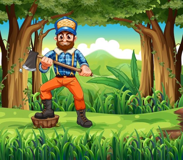 A woodman stepping at a stump in the forest Free Vector