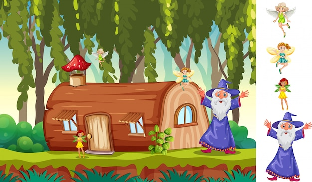 Woods scene with fantasy characters Free Vector
