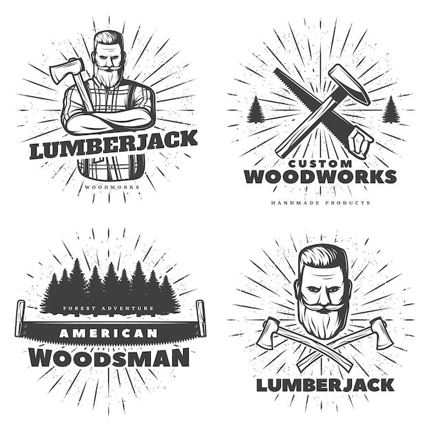 Эмблема woodsman sunburst Бесплатные векторы