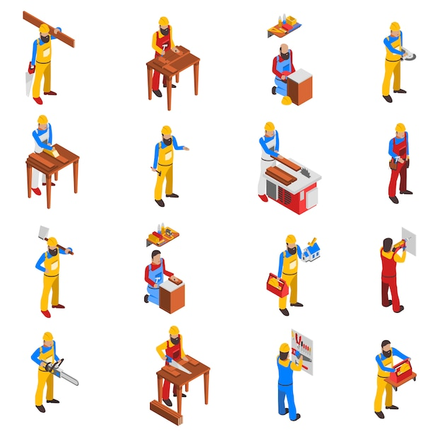 Woodwork people icons set Free Vector