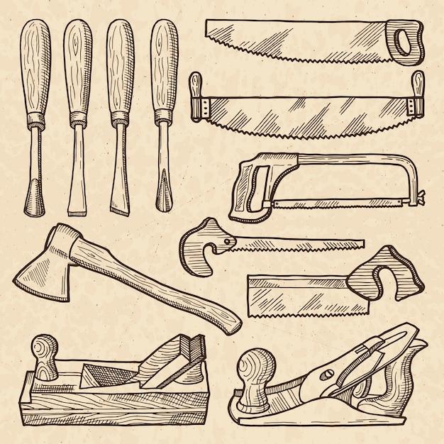 Деревообрабатывающий и плотницкий инструмент. изоляция промышленного оборудования. плотницкий инструмент и оборудование для работы по дереву Premium векторы