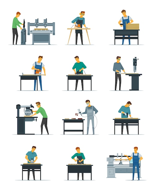 Woodworking carpentry polishing and painting flat icons collection Free Vector