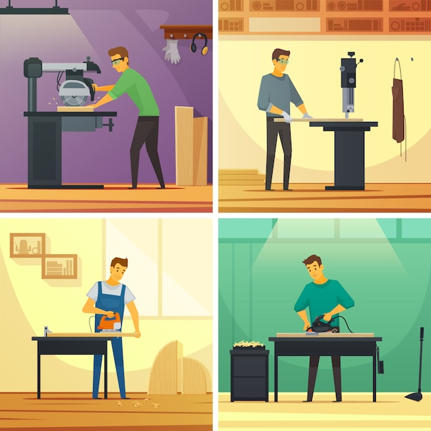 Woodworking carpentry services 4 flat icons composition poster Free Vector
