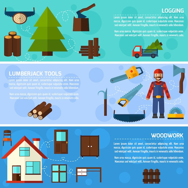 Woodworking industry banners Free Vector