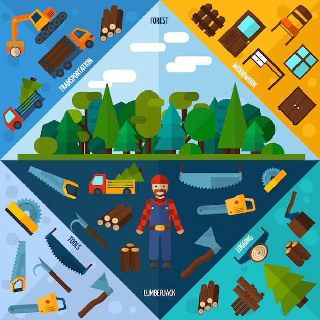 Woodworking industry corners Free Vector