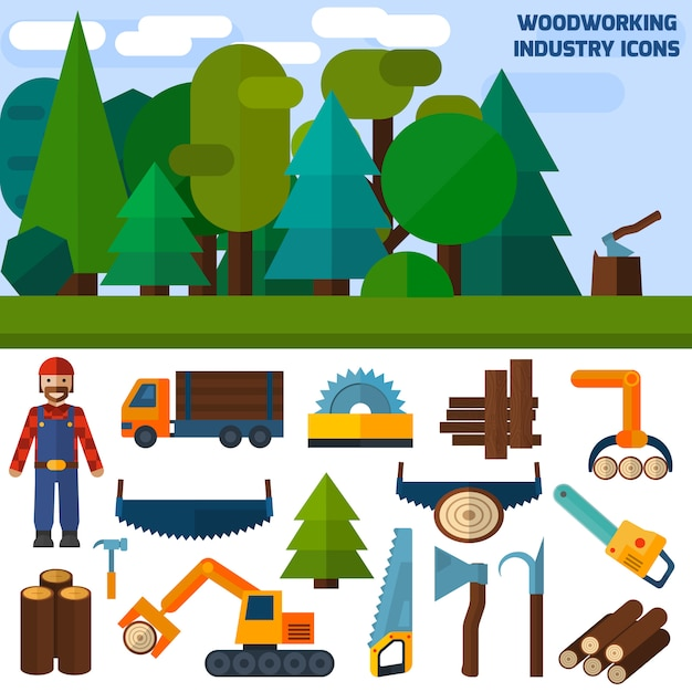 Woodworking industry icons Free Vector