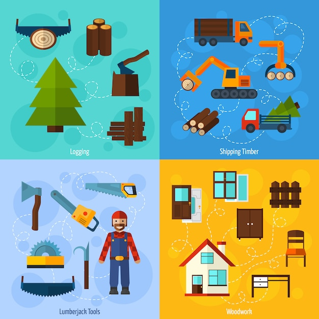Woodworking industry set Free Vector
