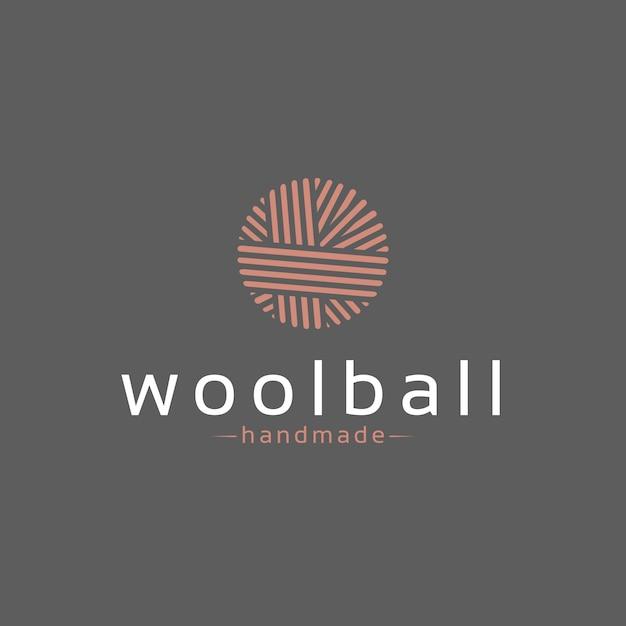 Wool ball logo design Premium Vector
