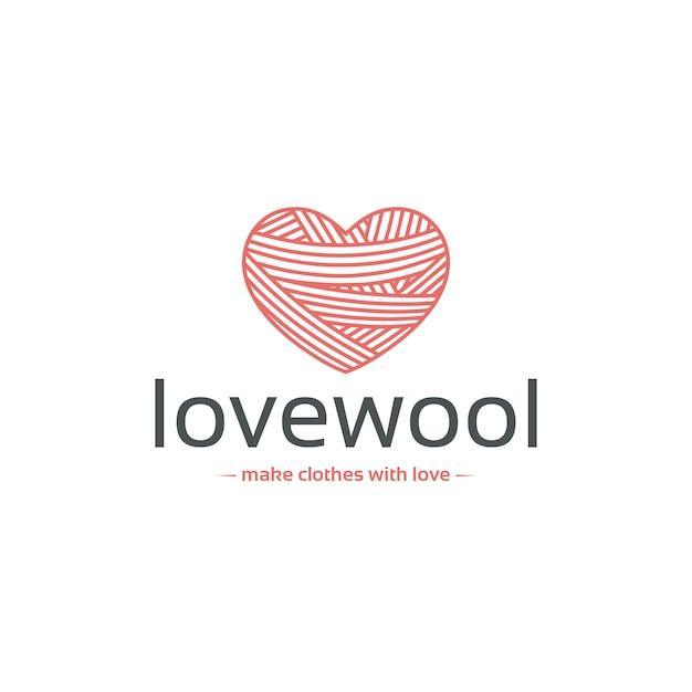 Wool heart logo template Premium Vector