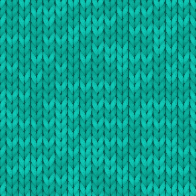 Wool turquoise color texture background. seamless knitted background Premium Vector