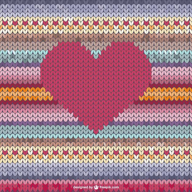 Woolen heart Free Vector