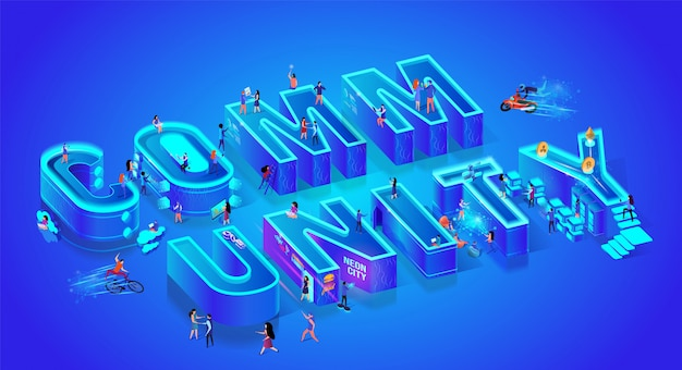 Word community. isometric 3d style. huge letters Premium Vector