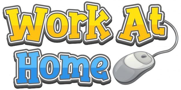 Дизайн слова для работы дома на белом фоне Бесплатные векторы
