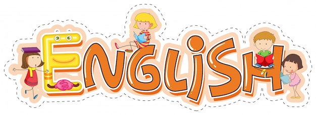 Word design for school subject english Free Vector
