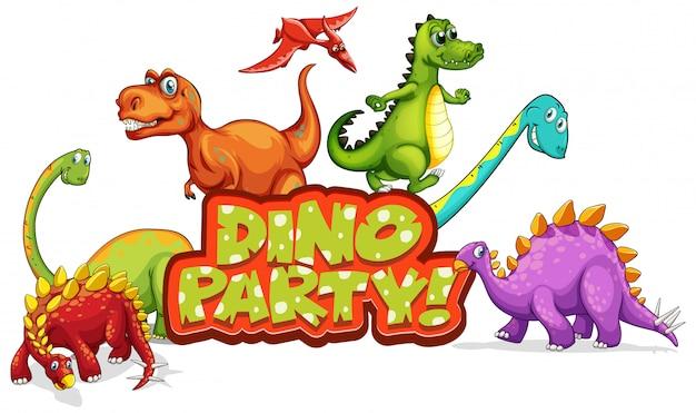 Дизайн шрифтов для вечеринки word dino со многими динозаврами Бесплатные векторы