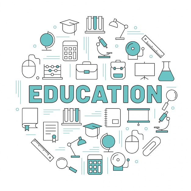 The word education surrounded by icons Premium Vector