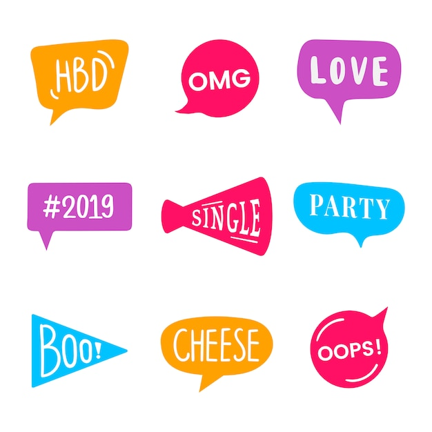 Word expressions set for party photo booth props vector Free Vector
