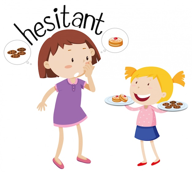 Word hesitant, mother and daughter characters Free Vector