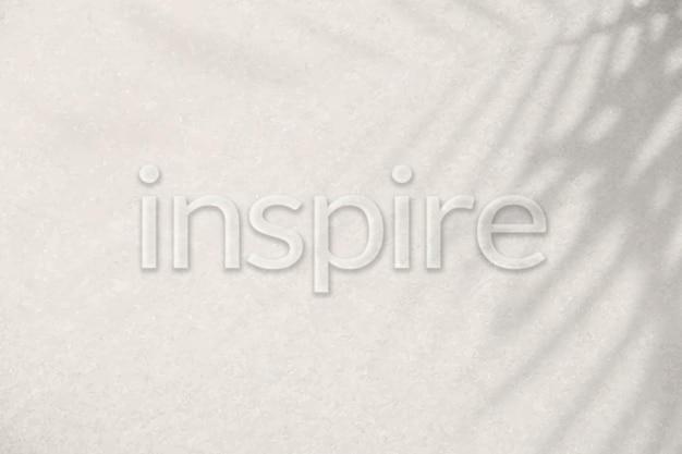 Слово вдохновляет рельефный типографский шрифт Бесплатные векторы