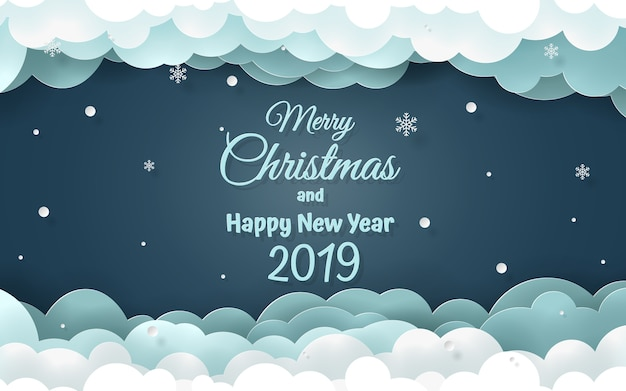 Word of Merry Christmas and happy new year 2019 Vector | Premium ...