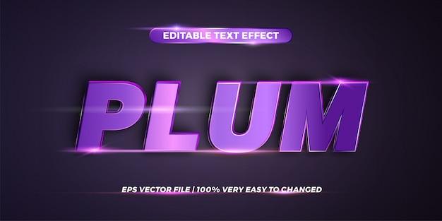 Word plum - редактируемый стиль текста Premium векторы