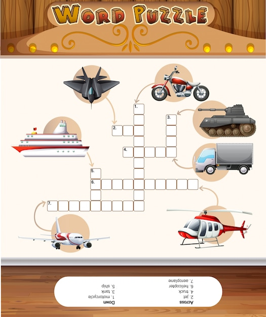 Word puzzle game template with transportations Premium Vector