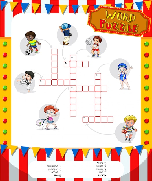 Word puzzle game with many sports Free Vector