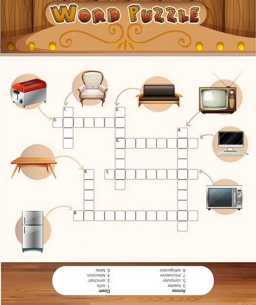 집안의 개체와 단어 퍼즐 게임 프리미엄 벡터