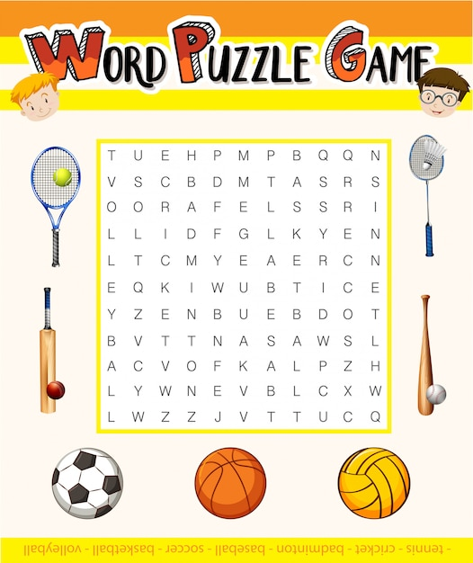 Word puzzle game with sport theme Free Vector