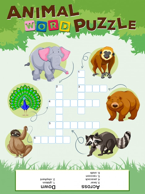 Word puzzle game with wild animals Free Vector